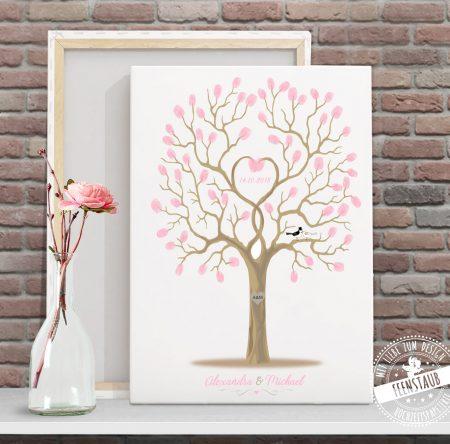 Weddingtree auf Leinwand rosa