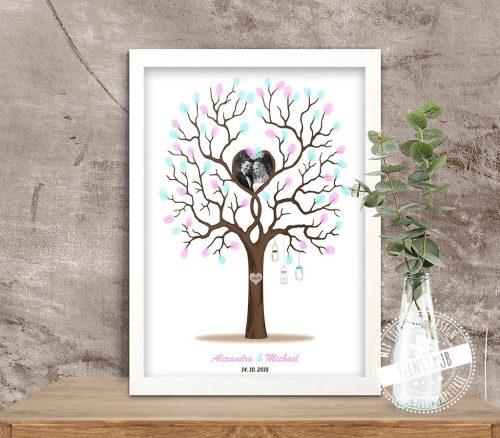 Fingerabdruckbaum mit Foto Brautpaar