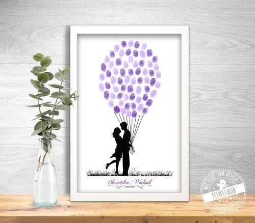Fingerabdrücke von Hochzeitsgästen als Luftballons