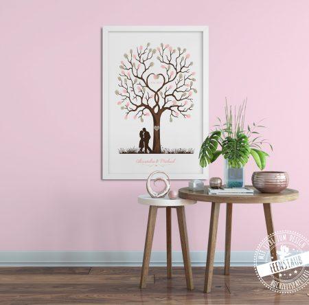Weddingtree an rosa Wand