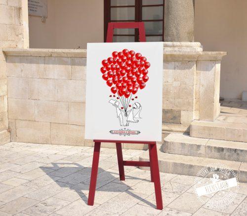 Hochzeitsbaum zum Unterschreiben mit roten Ballons