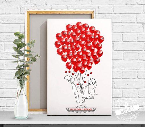 Hochzeitserinnerung Leinwand Cimicpaar mit Ballons