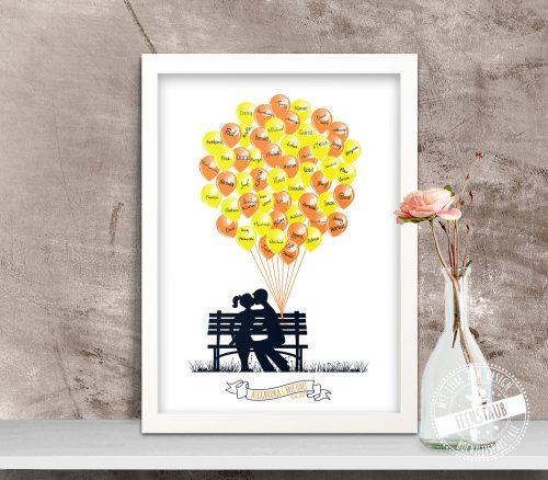 Weddingtree mit Ballons in Orange