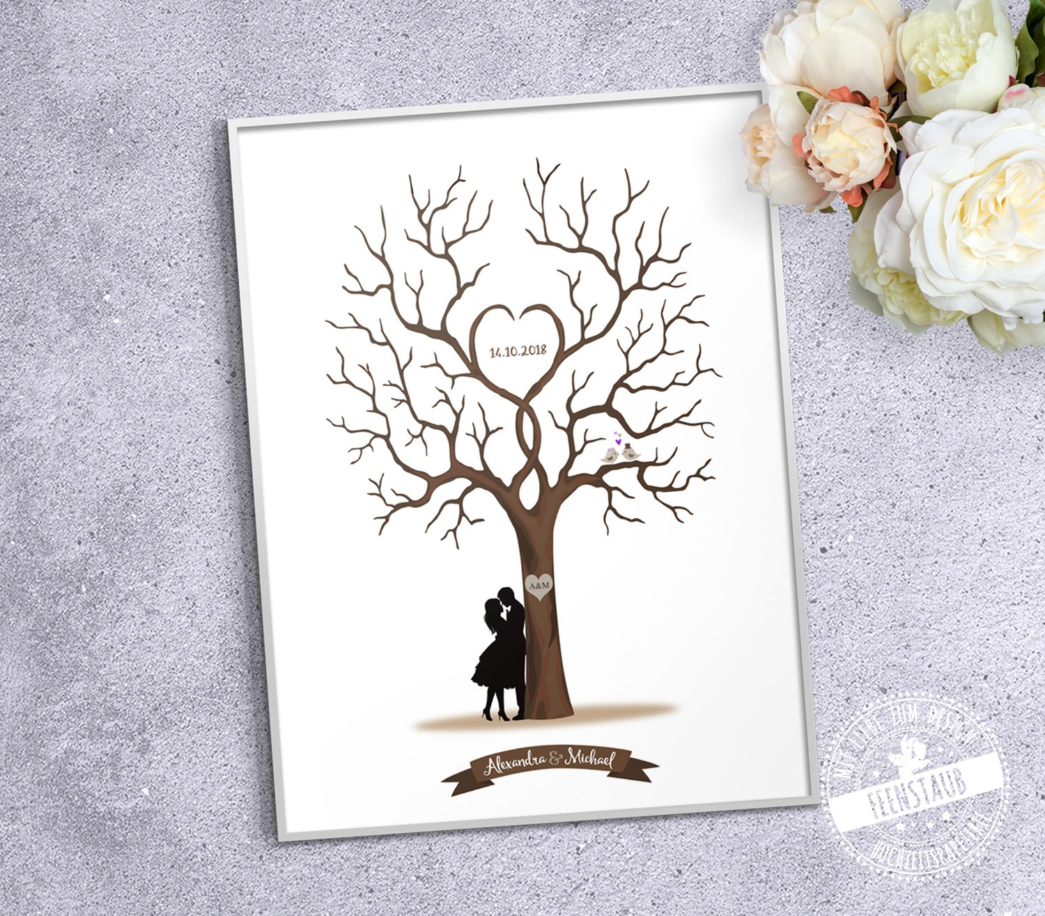 hochzeit leinwand baum leinwanddas wedding tree auto als wedding tree baum hochzeit geschenk. Black Bedroom Furniture Sets. Home Design Ideas
