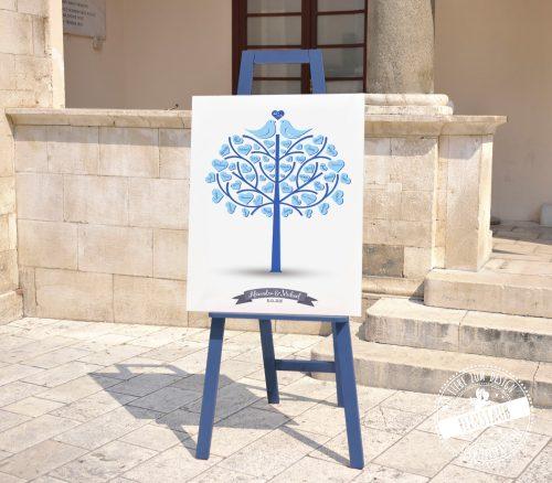 Weddingtree in blau auf Staffelei