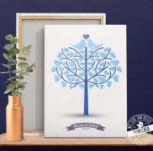 Hochzeitsbaum mit Vögel auf Leinwand