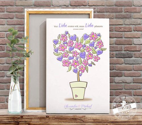 Blumentopf als Hochzeitsbaum