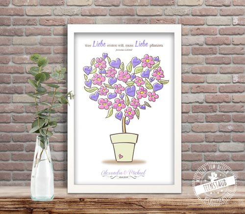Hochzeitsbaum Blumentopf zum Unterschreiben
