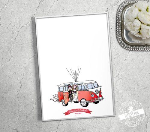vw bus in rot hochzeitsgeschenk