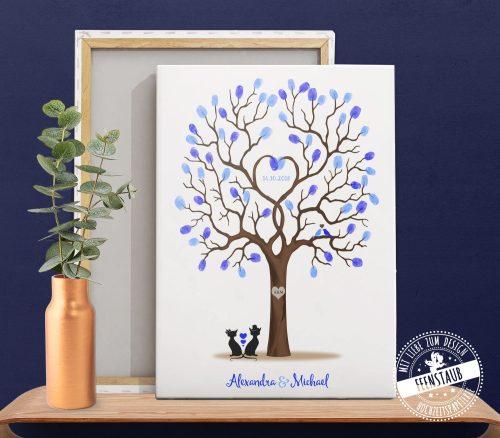 Weddingtree auf Leinwand mit Katzen