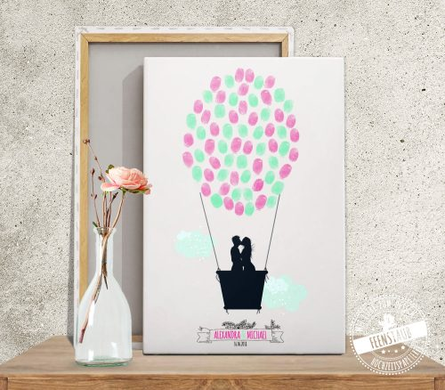 Ballon mit Brautpaar auf Leinwand