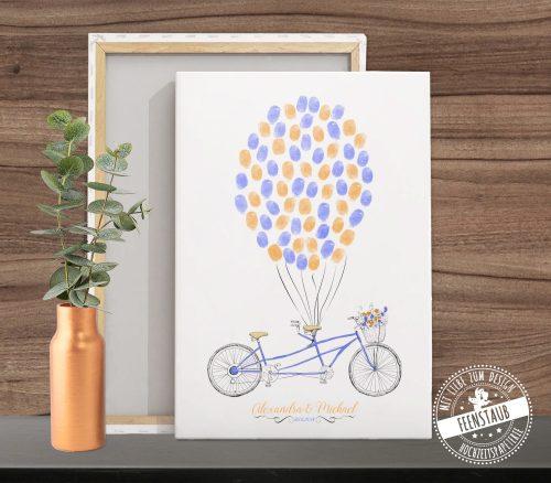blaues Tandem als Hochzeitsbaum