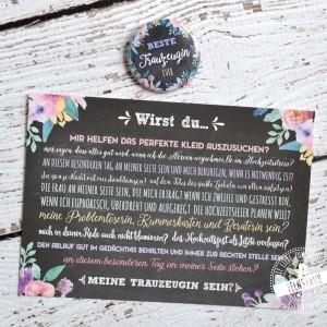 Frage an Trauzeugin - Karte Geschenk mit Button