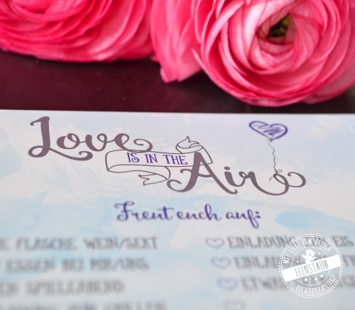 Karten mit Wünsche für Hochzeitsgäste