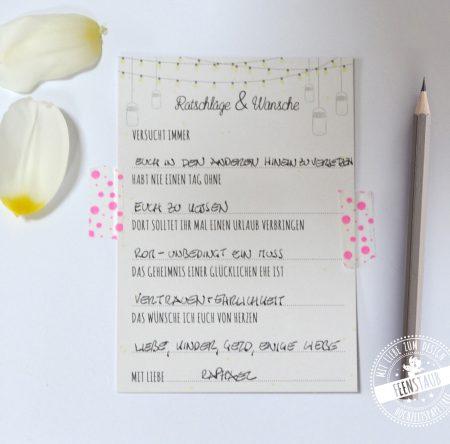 Fragen zum Ausfüllen für Hochzeitsgäste
