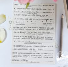 Gästekarten mit Fragen für Gäste
