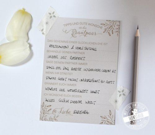 Gästebuchkarten für die Hochezit