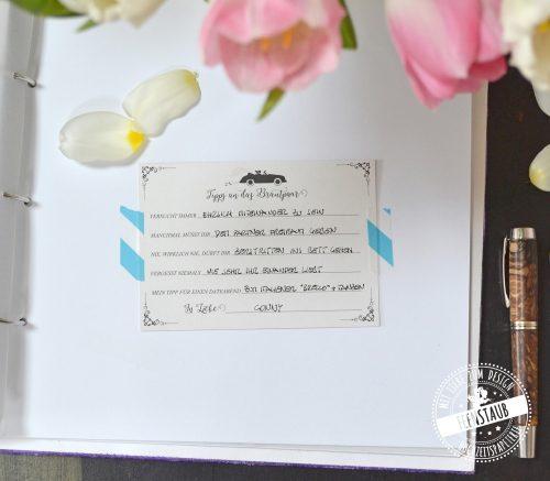 Gästekarten mit Fragen für die Hochzeit