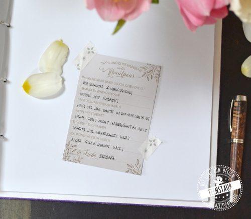 Gästebuchkarten mit Fragen
