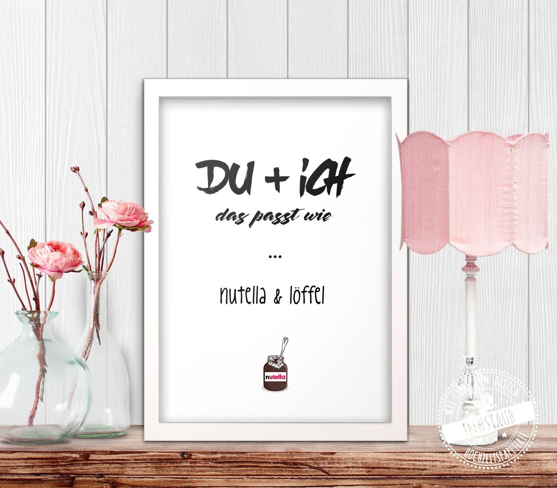 Print Bild Poster Du Ich Das Passt Wie Nutella
