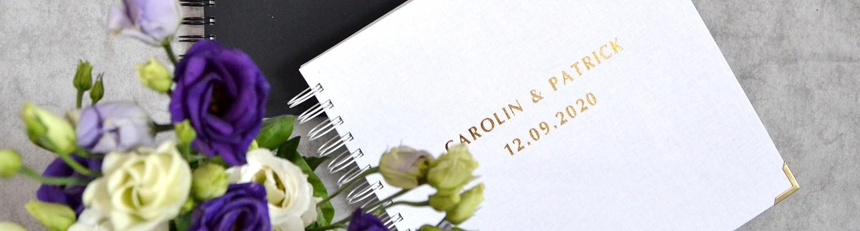 Gästebuchkarten und Gästebücher mit vorgedruckten Fragen