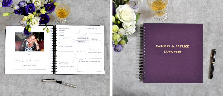 Gästebücher mit vorgedruckten Fragen zum ausfüllen für deine Hochzeit