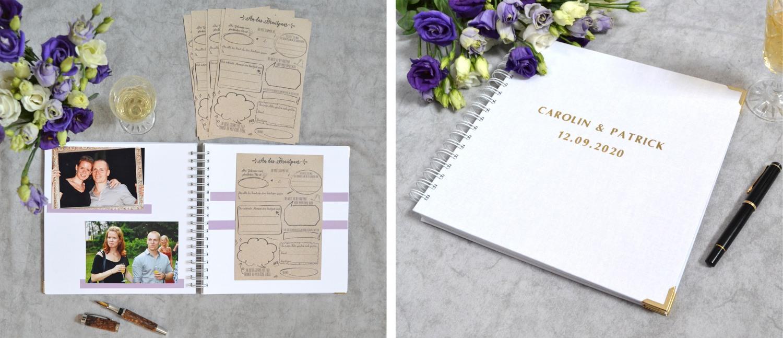 Gästebuchkarten für deine Hochzeit inklusive leerem Gästebuch