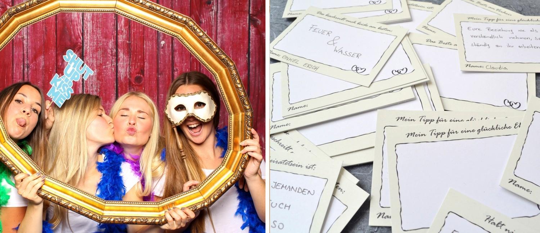 Gästekarten als tolle Idee für euere Hochzeit mit eienr Fotobox