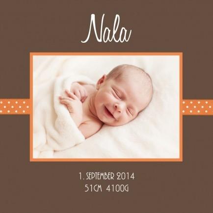 Geburtskarte mit Babynamen und Daten