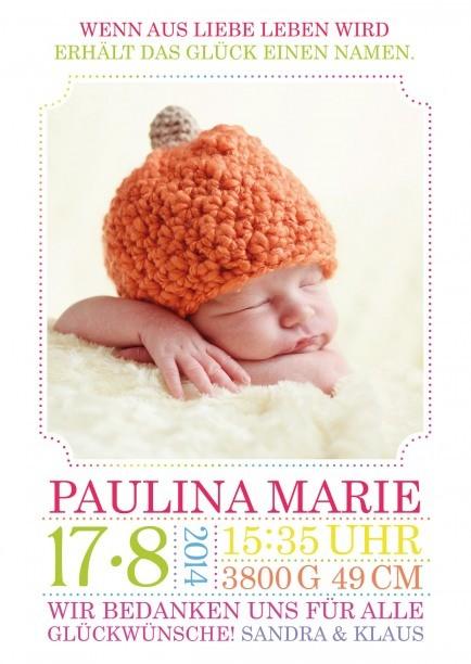 Geburtskarte mit Gewicht, Größe, Namen