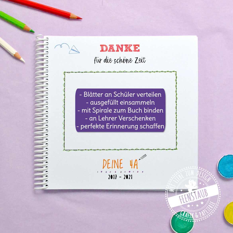 Abschiedsgeschenk für Lehrerin Grundschule   Erinnerungsbuch Schüler