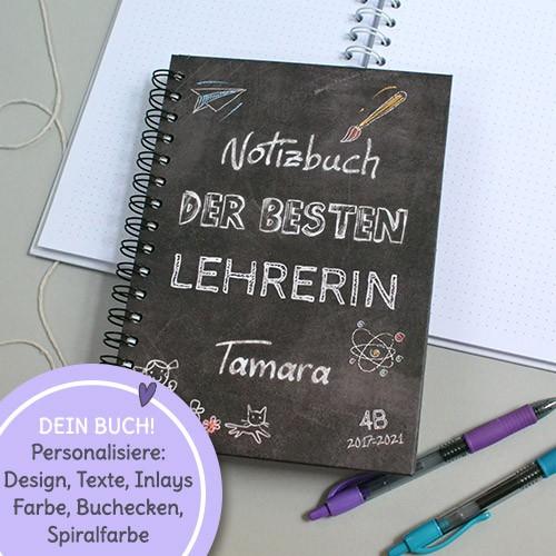 Abschiedsgeschenk lehrer, personalisierbares notizbuch mit namen