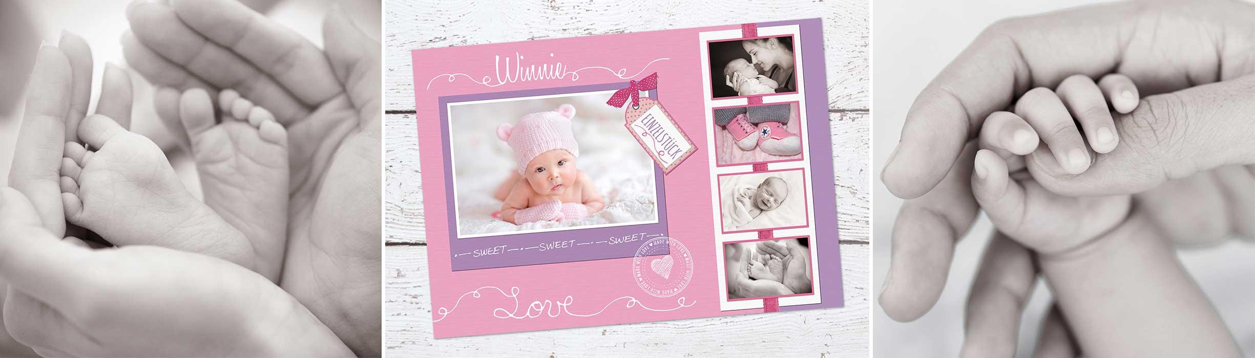 Baby Geburtskarte im Postkartenformat für Mädchen