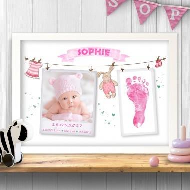 Print zur Geburt mit Foto und Fußabdrücken