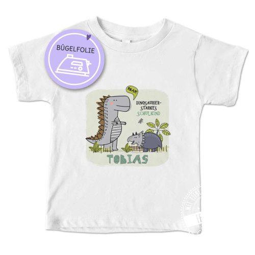 Bügelbild für die Einschulung mit Dinosaurier