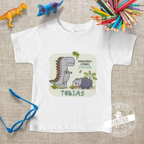 Endlich Schulkind! Bügelbild mit Dinosaurier