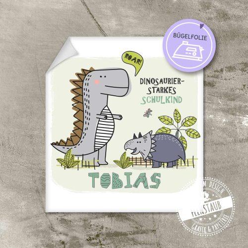 Geschenk zum Schulstart, Bügelbild mit Dinos