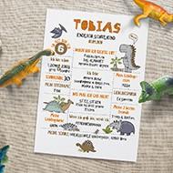 Meilensteintafel zur Einschulung mit Dinosaurier