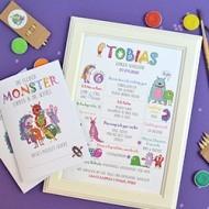 Geschenk zur Einschulung, Meilensteinposter und Malheft mit Monstern