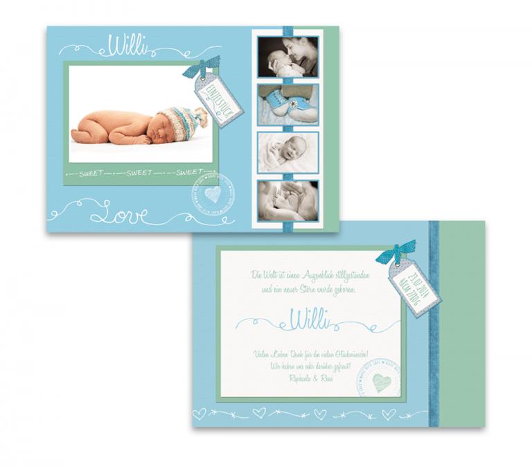 Geburtskarten, Babykarten in Mintgrün