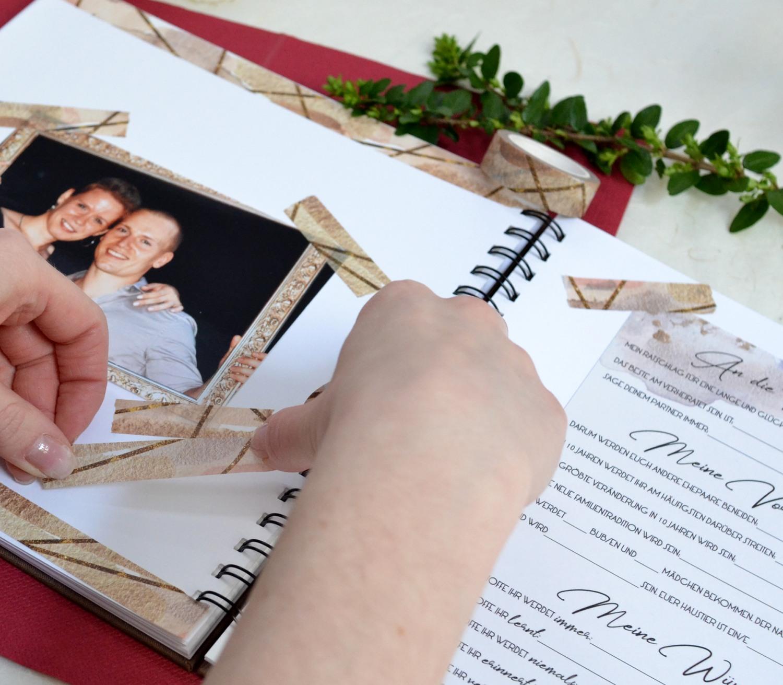 Washi Tape zur gestaltung von Hochzeits Gästebüchern, tolle DIY Idee