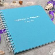 hochzeitsgästebuch in vielen Farben und nach den Wünschen des Brautpaares mit Frgen personalisierbar