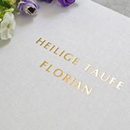 Gästebuch für Taufe personalisierbar in gold, silber mit Namen und Datum