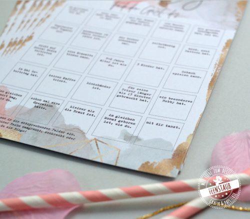 Gäste Bingo lustiges Spiel für deine Hochzeit