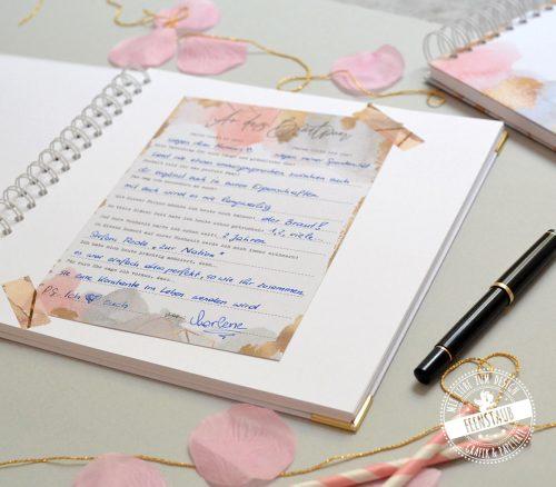 Gästebuch Karten Hochzeit zum Ausfüllen für HOchzeitsgäste