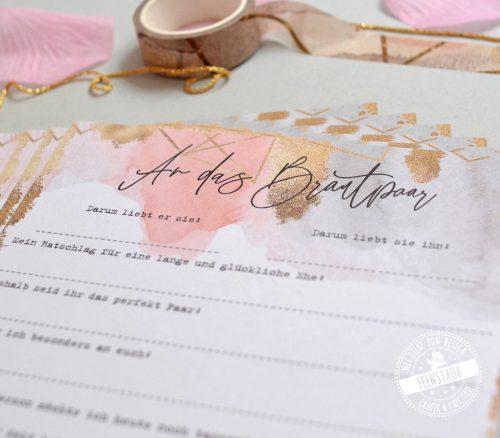 Gästebuchkarten für die Hochzeit in Gold, Rose und Grau