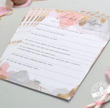 Gästebuch Alternative für die Hochzeit Karten mit vorgedruckten Fragen