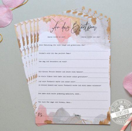 Gästebuchkarten für die Hochzeit für die Gäste zum Ausfüllen