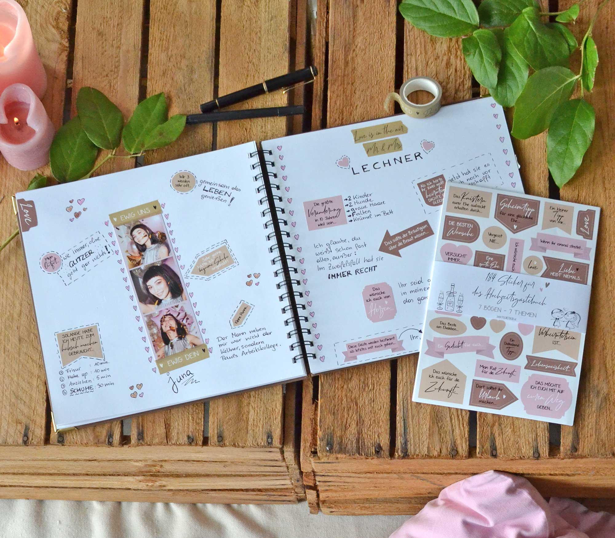 Hochzeits Gästebuch mit Stickern toll gestalten