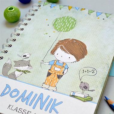 Notizbuch für Schulkind zur Einschulung Geschenk, Personalisierbar mit Namen und eigenem Text